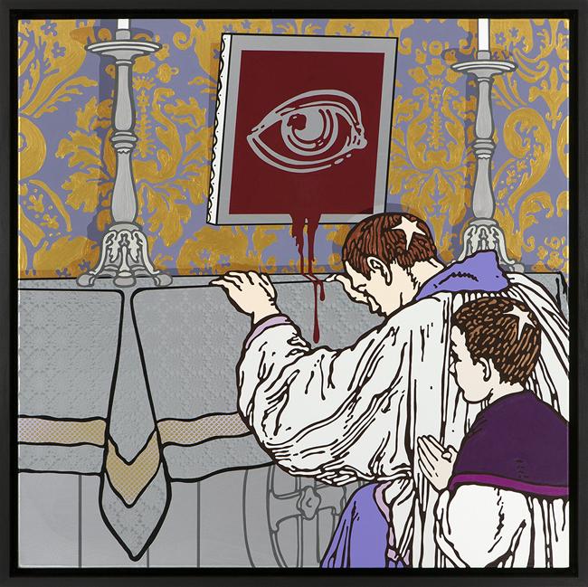 Gabriele Arruzzo, senza titolo (Sancta Sanctorum),smalto e acrilico su tela e cornice in legno dipinta,107x107cm, 2015