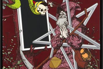 Gabriele Arruzzo,senza titolo (catoptromante),smalto e acrilico su tela e cornice in legno,127x127cm,2015
