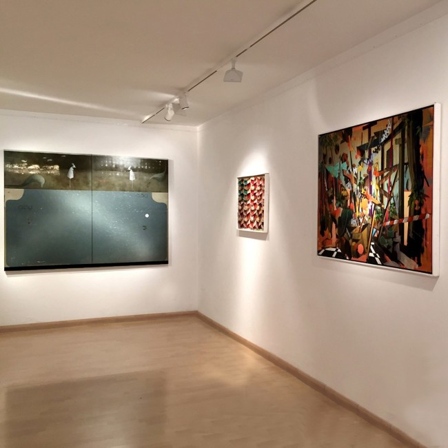 Galleria Bonioni Arte, veduta allestimento, Mirko Baricchi, Marco Ferri, Luca Moscariello
