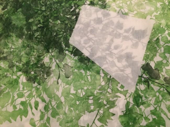 Asako Hishiki, Simbiosi armoniche #5, 2015, xilografia su tessuto (particolare)