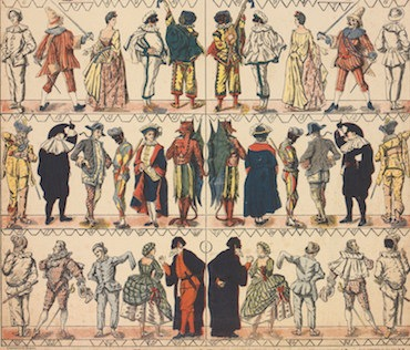 Maschere e personaggi della Commedia dell'Arte / Masks and Characters of the Commedia dell'Arte, particolare / detail cromolitografia, XIX secolo / chromolitograph, 19th century