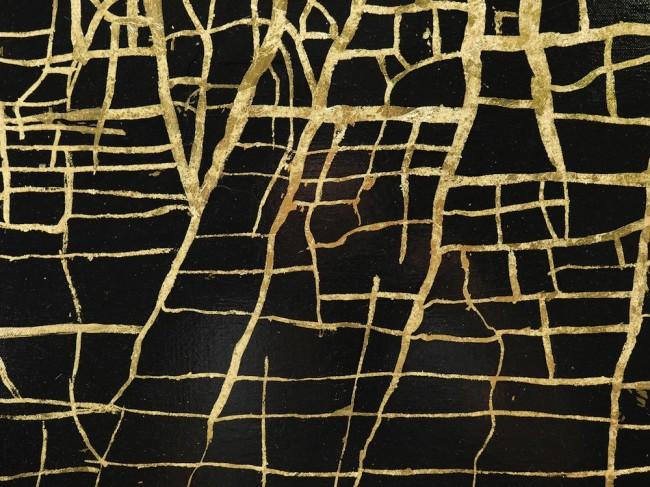 Massimiliano Galliani, Le Strade Del Tempo #2, particolare, 2013, vernice e foglie di ottone su tela, 140x210 cm