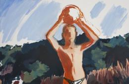 Nicolò Bruno, Boy with watermelon, olio su tela, cm 50x40, 2015, courtesy dell'artista.