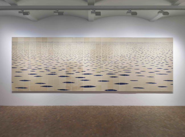 Tania Kovats, Sea Mark (2012-14) Glazed ceramic tiles on board, 9 parts 182 x 540 cm Installation view: Pippy Houldsworth Gallery, London Courtesy the artist and Pippy Houldsworth Gallery, London. Photo: Prudence Cuming Associates