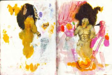 Thomas Braida Pugili, 2015, tecnica mista su carta, 24 x 38 cm Courtesy dell'artista e Monitor, Roma
