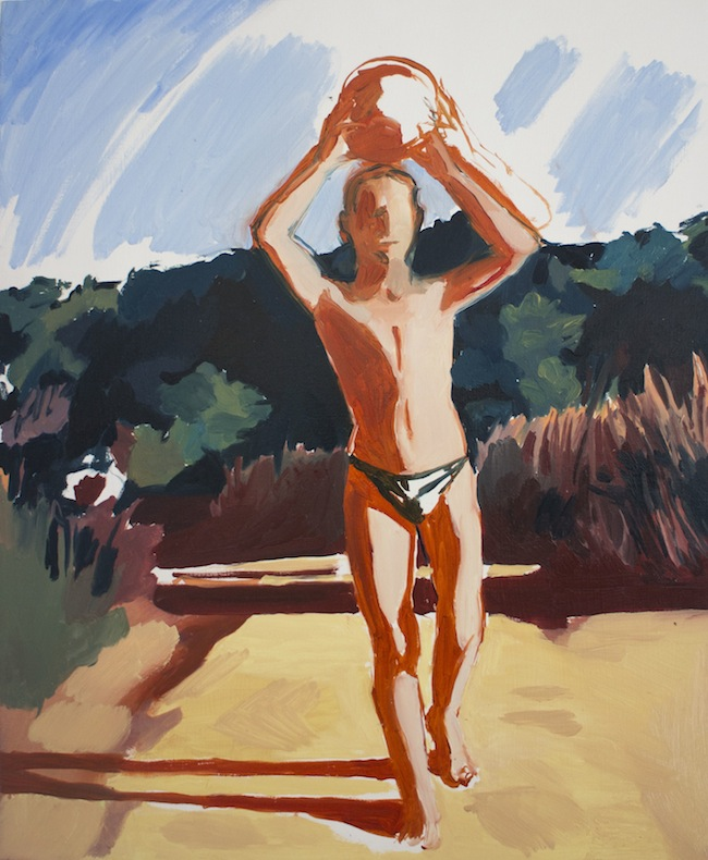 Nicolò Bruno, Boy with watermelon, olio su tela, cm 50x40, 2015, courtesy dell'artista.