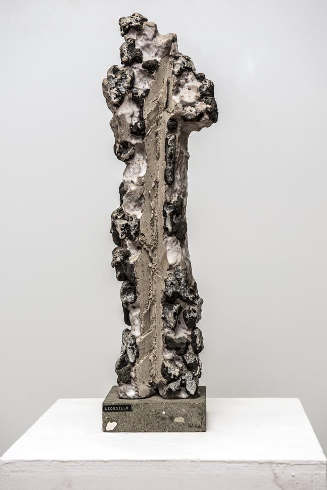 Leoncillo Leonardi (Spoleto 1915 - Roma 1968),  San Sebastiano, 1962,  grès e smalti, 54 x 16 x 11 cm