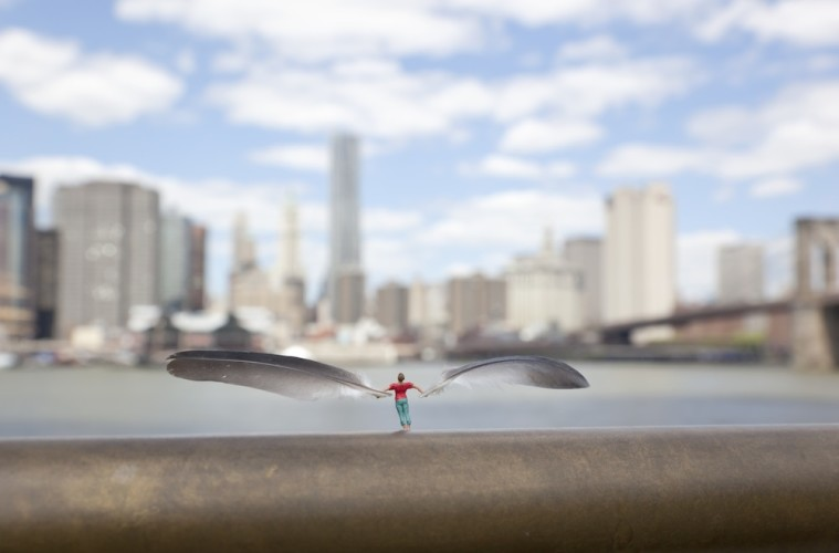Slinkachu, Skyscraping, Brooklyn Bridge Park, New York, USA 2011