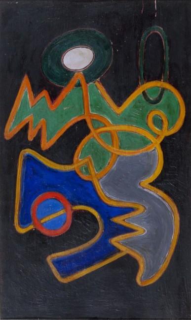 Gillo Dorfles, Composizione con cresta, 1949, olio su tavola, 50x33 cm CSAC, Università di Parma, Sezione Arte