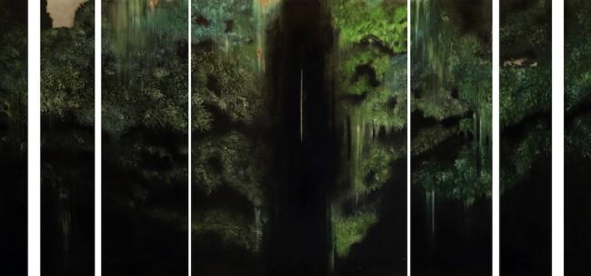 Giulia Dall'Olio, g 8][8 d, 2014, olio su tavola incisa, 367x187 cm