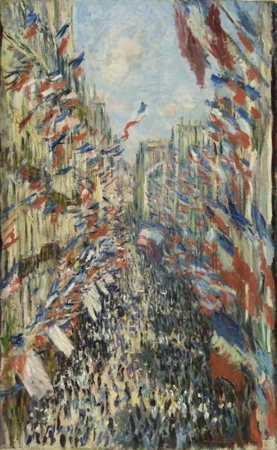 Claude Monet, La rue Montorgueil, à Paris. Fête du 30 juin 1878, 1878, olio su tela, 81x50 cm, inv. RF 1982 71 6. (id 16) Monet 6, Paris, Musée d'Orsay © RMN-Grand Palais (Musée d'Orsay) / Patrice Schmidt