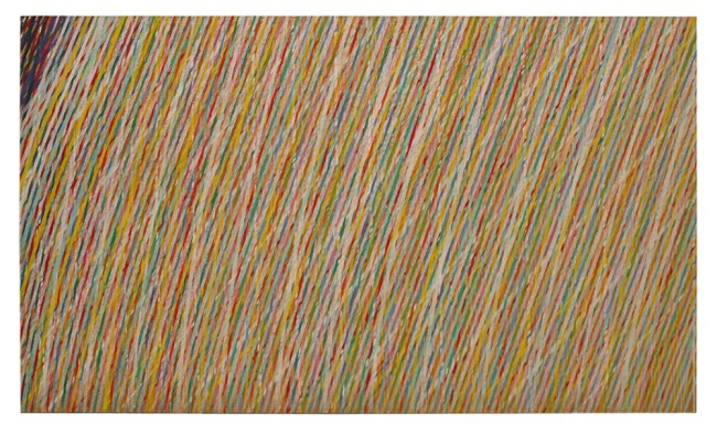 """Piero Dorazio, """"Max – well"""", 1984, cm 200x340, olio su tela Courtesy Lorenzelli Arte, Milano"""