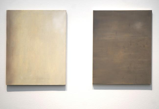 Eugenia Vanni, Due ritratti, l'uno dell'altro, ritratto di tela di cotone, olio su tela di lino; ritratto di tela di lino,olio su tela di cotone 50×40 cm ciascuno