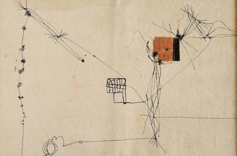 Alberto Burri, Copertina 24, 1953-54, inchiostro, stoffa, vinavil su tela, 37x50 cm, Fondazione Palazzo Albizzini Collezione Burri