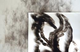 Laura Santamaria, Cosmo celebrates its experience through the Flame and me (Blacksmoke series 20082015), 2015, blacksmoke on paper (nerofumo su carta), 70 x 50 cm, courtesy dell'artista