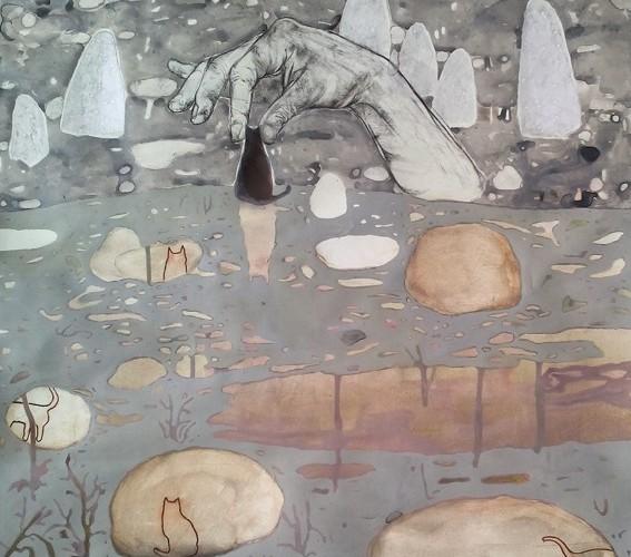 Elisa Bertaglia, Ludmila Kazinkina, Agnese Skujina, Opera collettiva, 2015, tecnica mista su carta, 70x50 cm