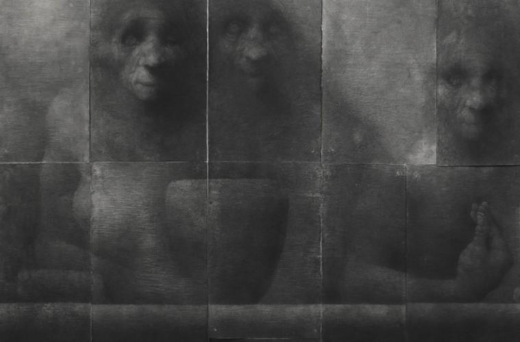 Lorenzo Cardi, Composizione 3 (22 fogli), fusaggine, chiodi, carta Arches, 180x240 cm (dettaglio)