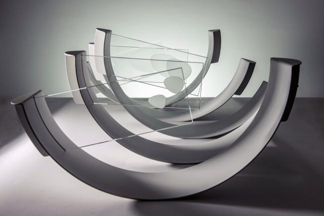 Max Coppeta, Flow / Piogge sintetiche, 2015, acqua cristallizzata su vetro, alluminio verniciato a fuoco, 60x520x30 cm Foto © Rosario Spanò | proDUCKtion.it Courtesy Galleria ART1307 / Cynthia Penna