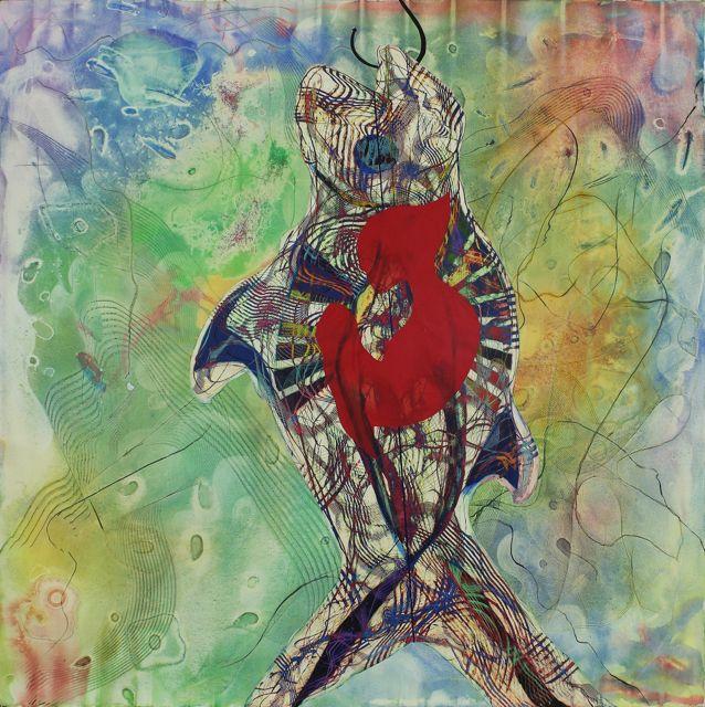 Eldi Veizaj, Ritratto della ragione 192x192cm acquarello e pastelli a cera su tela