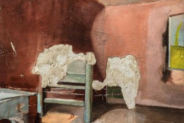 Luca Zarattini, Interno 4, 2015, tecnica mista su tavola, 125x90 cm Courtesy RvB Arts, Roma