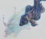 Eldi Veizaj, Sotto l'acqua sono un pesce. 192x192cm acquerello e pastelli a cera su tela (2015)
