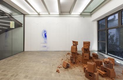 su parete di fondo Ana manso Maze engraving, pingment on wall,  a terra Marc Breslin When the cat is away...briks, dim var