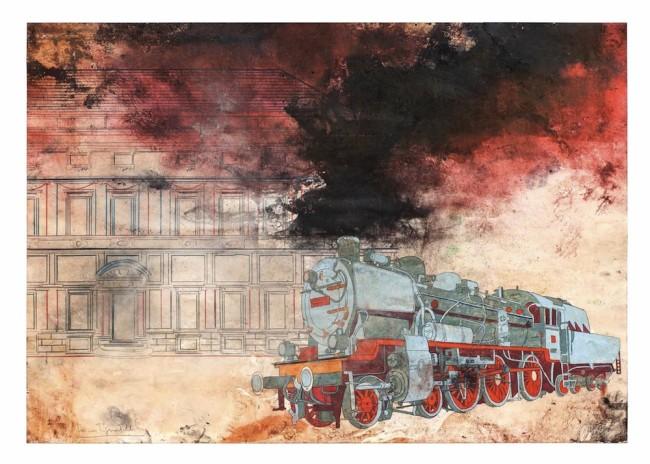 Luca Pignatelli, Treno 6608, 2012-15, tecnica mista su carta, 69.8x99.4 cm