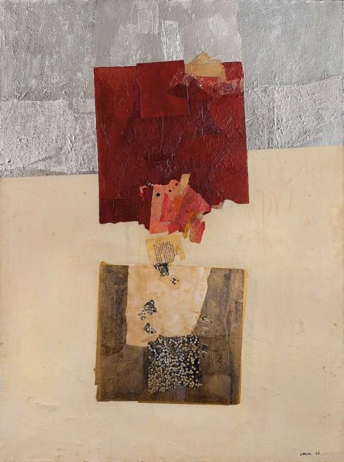 Eugenio Carmi, Appunti Notes, 1963, olio e collage su tela, 130x97 cm Museo del Novecento, Milano