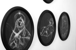 """Lemeh42, """"Exvoto-8"""", vernice su vetro graffiata, cm 150x100, 2015 - dettaglio"""