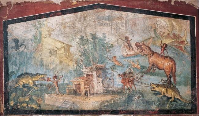 Pittura: paesaggio nilotico, da Pompei, Casa del Medico, 55-79 d.C., affresco, altezza 82 cm, larghezza 133 cm, Museo Archeologico Nazionale, Napoli (inv.113195)