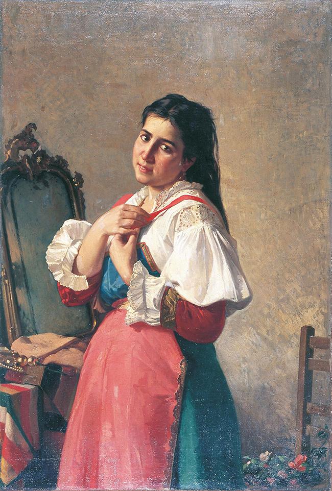 Alfonso Simonetti, Il nastro rosso o la toletta della promessa, 1879, olio su tela, cm 120x80