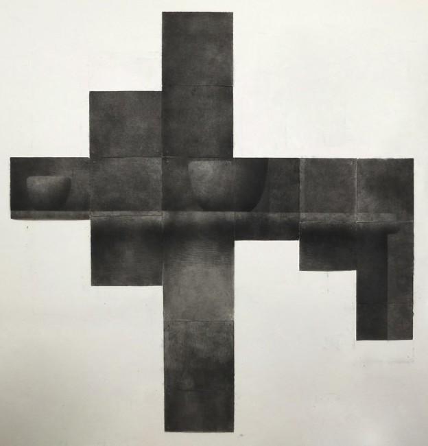 Lorenzo Cardi, Composizione 6 (15 fogli), fusaggine, chiodi, carta Arches, cm 196x192