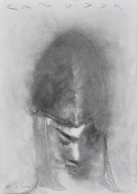 Omar Galliani, Cercando Matilde, 2012, carboncino su carta, 42x29.7 cm