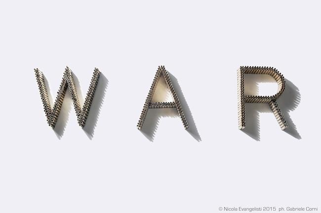 WAR, 2015, Installazione in bossoli di carabina e alluminio  Dimensioni variabili, 31x450 cm circa, Foto Gabriele Corni015