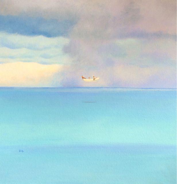 Kyoko Dufaux, L'acquazzone improvviso, 2015, acrilico su tela, 60x60 cm Courtesy Galleria Paraventi Giapponesi - Galleria Nobili, Milano