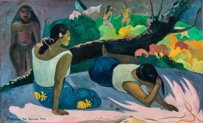 "Paul Gauguin, Donne tahitiane sdraiate (Arearea no varua ino, ""Il divertimento dello spirit maligno""), 1894, olio su tela, 60×98 cm, Copenhagen, Ny Carlsberg Glyptotek"