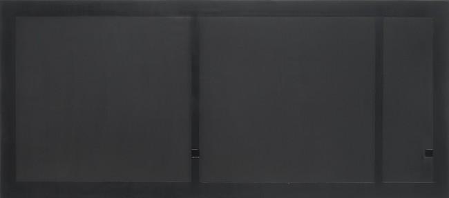 Antonio Calderara, Nero, 1968, olio su tavola, 36x81 cm (provenienza: Galleria Milano, Milano)