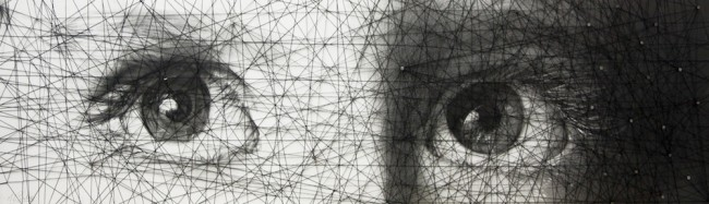 Maria E Santiso Ventana al alma, 2015, disegno e filo, Barcel one