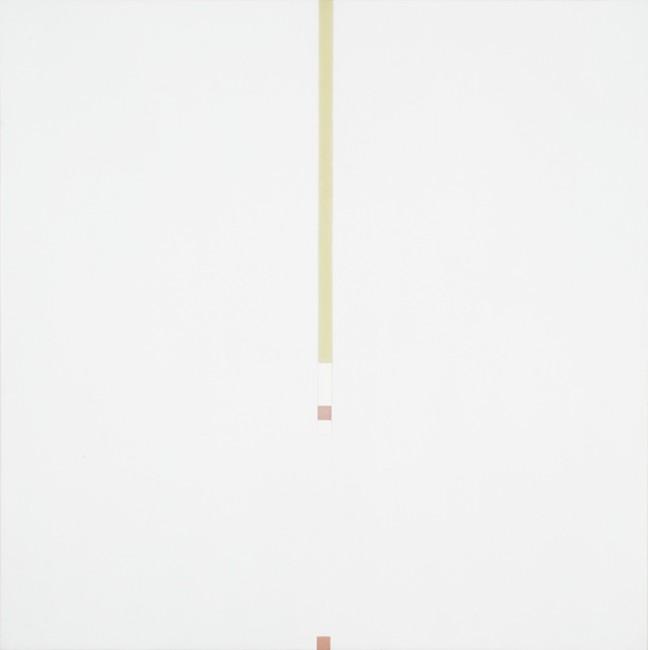 Antonio Calderara, Tensione verticale interrotta, 1966, olio su tavola, 81x81 cm (provenienza: Galleria Milano, Milano)