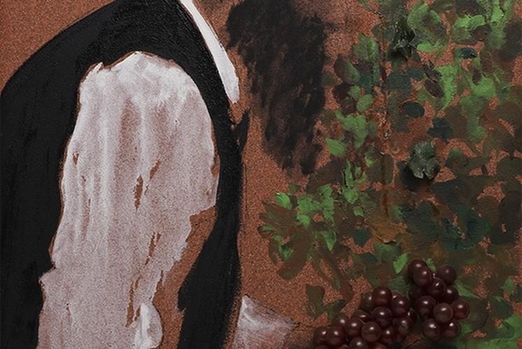 Aldo Mondino, Succot, 2004, olio su linoleum, 81x60 cm