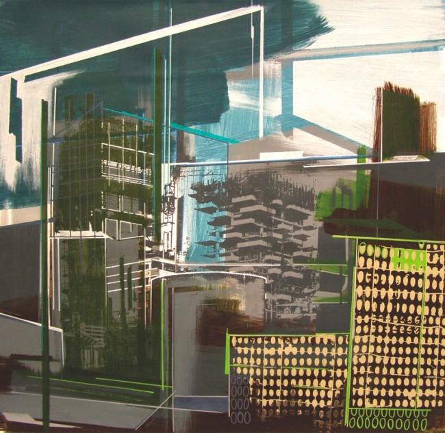 Annalisa Fulvi, Il verde verticale, 2011-12, tecnica mista su lino, 90x90 cm