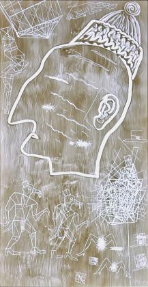 Alexandr Brodsky White Windows. Light box #18 2010 Legno, neon, plexiglas verniciato e graffiti 102,5x57,5x13 cm © Foto Galleria Milano