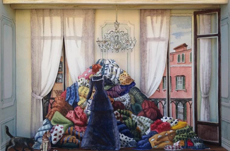 Vanni Cuoghi, Monolocale34, Venere-del-Gheto-Novo-2015-cm-21x30-china-e-acquerelli-su-carta