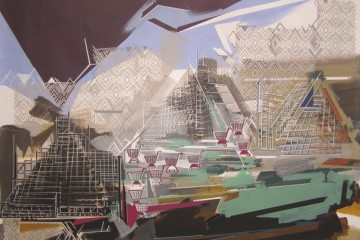 Annalisa Fulvi, Piramidi occidentali, 2013, acrilico su lino, 95x127 cm