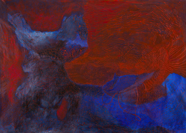 Teresa Iaria, Zoomorphic Clouds, 2015, acrilico su tela, cm 200x280