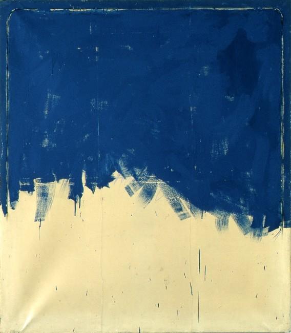 Mario Schifano, Vero amore incompleto, 1962, smalto su carta intelata, 160x140 cm