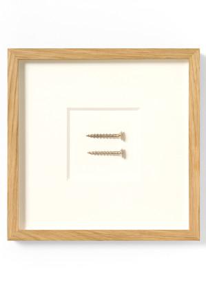 Ariel Schlesinger Screw/Unscrew, 2016 silver / argento ø cm. 0,8 framed cm. 24 x 24