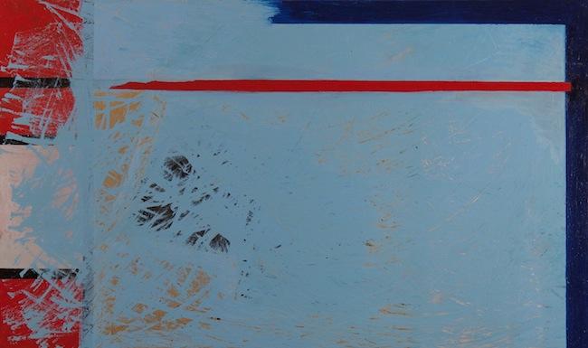 Armaroli, Paesaggio astratto, tecnica mista su tela, 10x60 cm