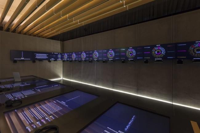 Flux-us, CUBO, veduta dell'allestimento in mediateca con l'installazione .amygdala di fuse, foto di © Marco Mioli per CUBO