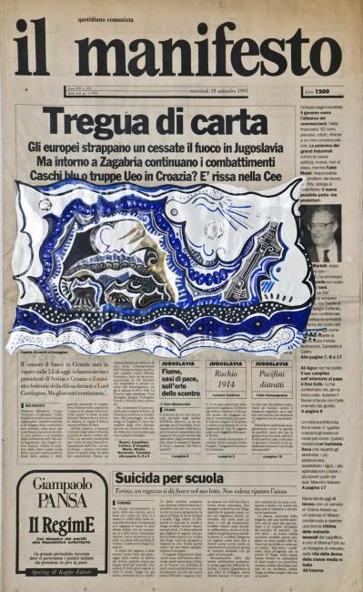 Riccardo Gusmaroli, Il Manifesto, 18 settembre 1991, tecnica mista su quotidiano, 59x35 cm Courtesy Archivio Riccardo Gusmaroli / Galleria Ca' di Fra', Milano